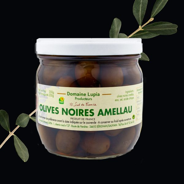 Olives en vente en ligne olives noires Amellau du Languedoc du domaine Lupia à Sérignan Hérault