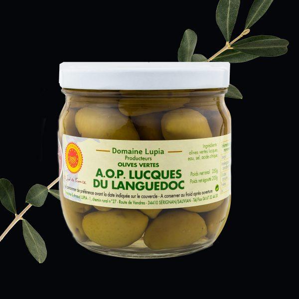 Olives en vente en ligne olives vertes AOP Lucques du Languedoc du domaine Lupia à Sérignan Hérault