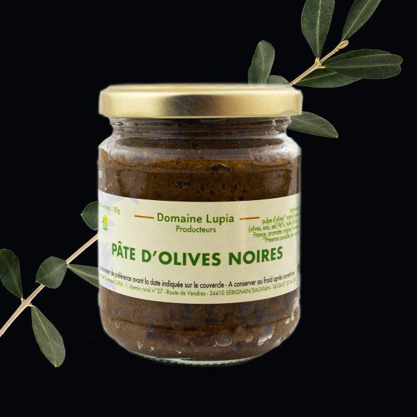 Olives en vente en ligne Pate d'olives noires du domaine Lupia à Sérignan