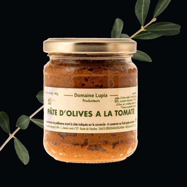 Olives en vente en ligne Pate d'olives vertes à la tomate du domaine Lupia à Sérignan
