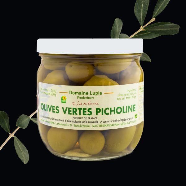 Olives en vente en ligne olives vertes Picholine Béziers du domaine Lupia à Sérignan